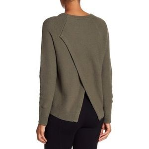 Madewell tulip back sweater in olive green